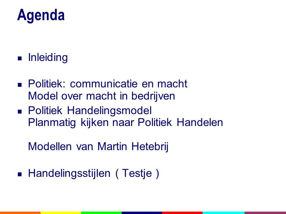 Agenda  Inleiding  Politiek: communicatie en macht Model over macht in bedrijven  Politiek Handelingsmodel Planmatig kijken naar Politiek Handelen Modellen van Martin Hetebrij  Handelingsstijlen ( Testje )