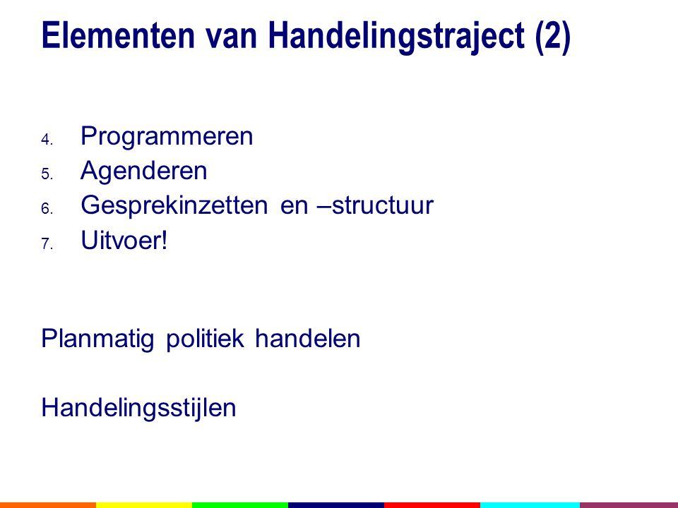 Elementen van Handelingstraject (2) 4.Programmeren 5.
