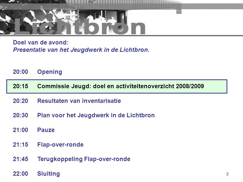 3 Doel van de avond: Presentatie van het Jeugdwerk in de Lichtbron. 20:00Opening 20:15Commissie Jeugd: doel en activiteitenoverzicht 2008/2009 20:20Re