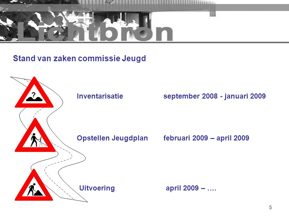 5 Stand van zaken commissie Jeugd Opstellen Jeugdplanfebruari 2009 – april 2009 Uitvoeringapril 2009 – …. ? Inventarisatieseptember 2008 - januari 200