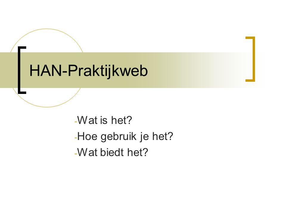 HAN-Praktijkweb - Wat is het? - Hoe gebruik je het? - Wat biedt het?