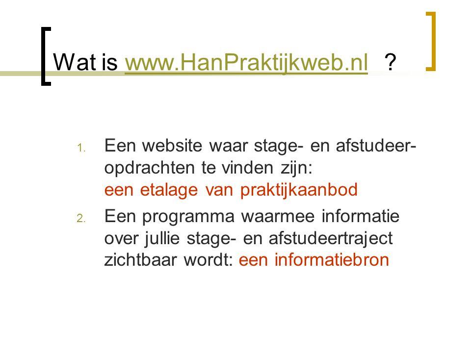 1) Een etalage van praktijkaanbod  Een website waar stage- en afstudeer- opdrachten te vinden zijn:  Bedrijven, organisaties en/of instellingen plaatsen zelf hun aanbod en beschikbare opdrachten op HAN-Praktijkweb