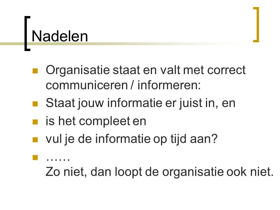 Nadelen  Organisatie staat en valt met correct communiceren / informeren:  Staat jouw informatie er juist in, en  is het compleet en  vul je de in