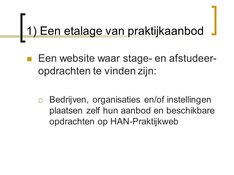 1) Een etalage van praktijkaanbod  Een website waar stage- en afstudeer- opdrachten te vinden zijn:  Bedrijven, organisaties en/of instellingen plaa
