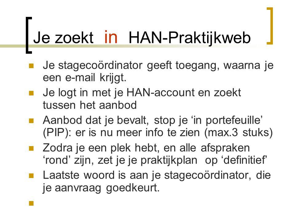 Je zoekt in HAN-Praktijkweb  Je stagecoördinator geeft toegang, waarna je een e-mail krijgt.  Je logt in met je HAN-account en zoekt tussen het aanb