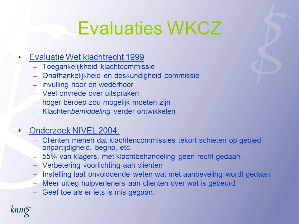 Reactie KNMG op concept WCZ •alternatief voorstel: –klachtenfunctionaris (of pvp) op niveau zorgaanbieder of instelling –verplicht zorgaanbieders tot aansluiting bij klachtencommissie eerste aanleg op regionaal niveau