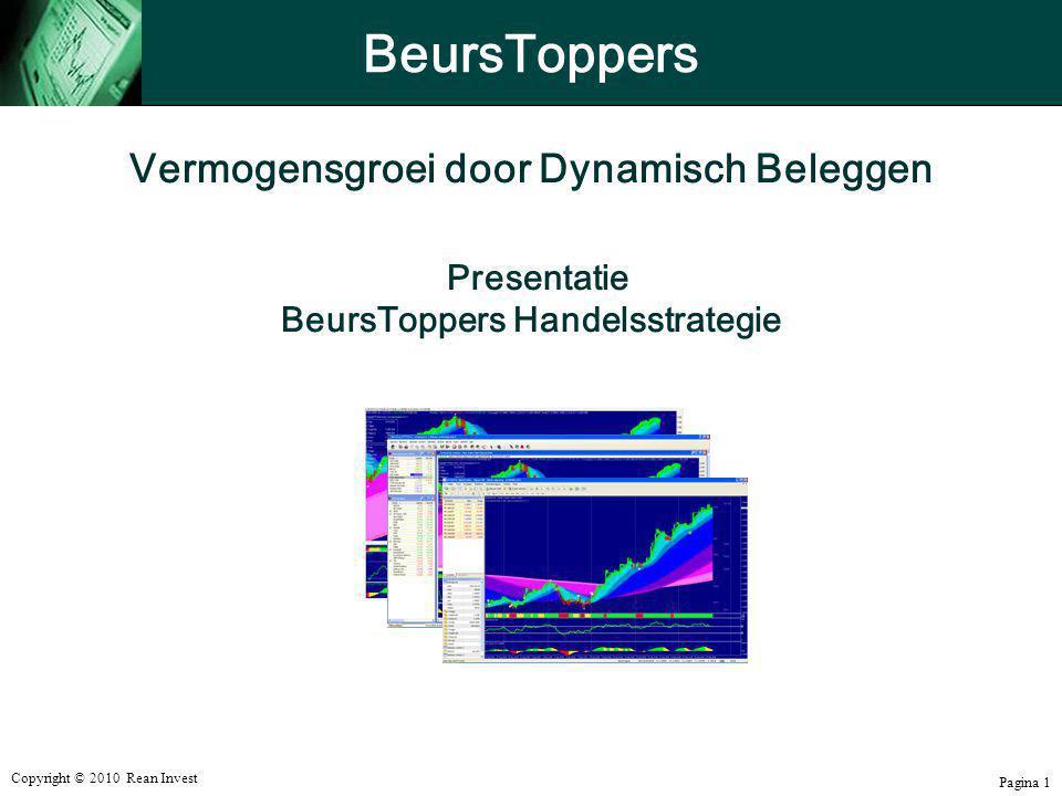 Copyright © 2010 Rean Invest Pagina 1 Vermogensgroei door Dynamisch Beleggen Presentatie BeursToppers Handelsstrategie BeursToppers