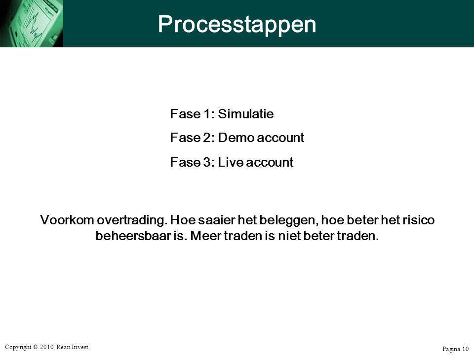 Copyright © 2010 Rean Invest Pagina 10 Processtappen Fase 1: Simulatie Fase 2: Demo account Fase 3: Live account Voorkom overtrading. Hoe saaier het b