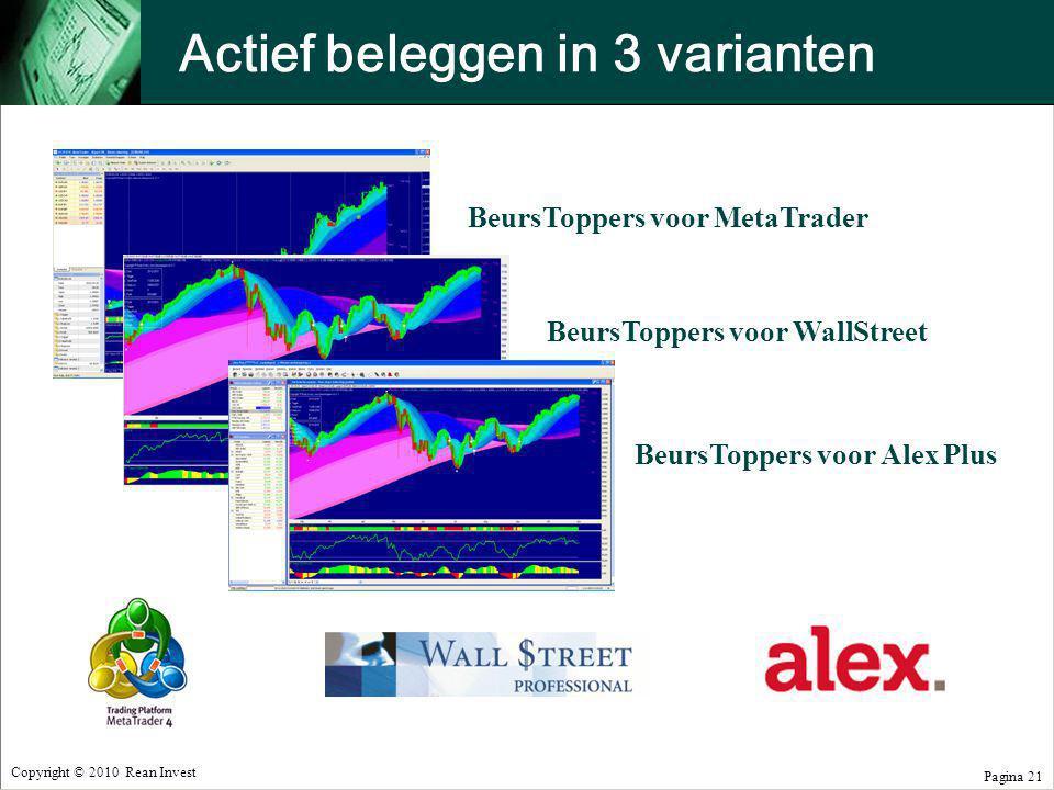 Copyright © 2010 Rean Invest Pagina 21 Actief beleggen in 3 varianten BeursToppers voor MetaTrader BeursToppers voor WallStreet BeursToppers voor Alex