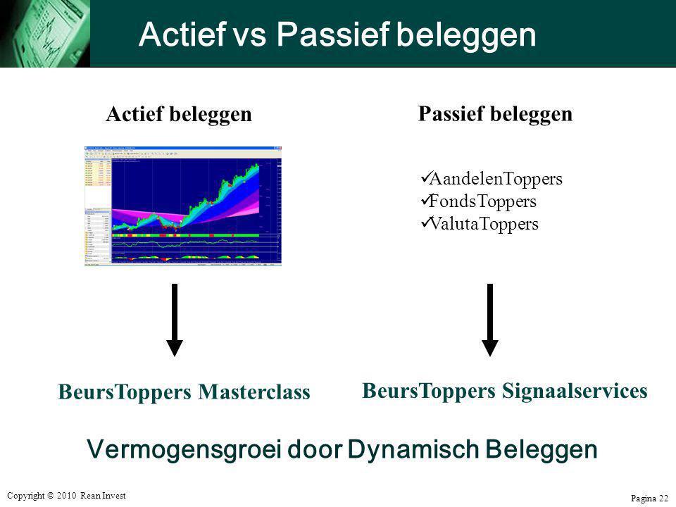 Copyright © 2010 Rean Invest Pagina 22 Actief vs Passief beleggen  AandelenToppers  FondsToppers  ValutaToppers Passief beleggen Actief beleggen Be