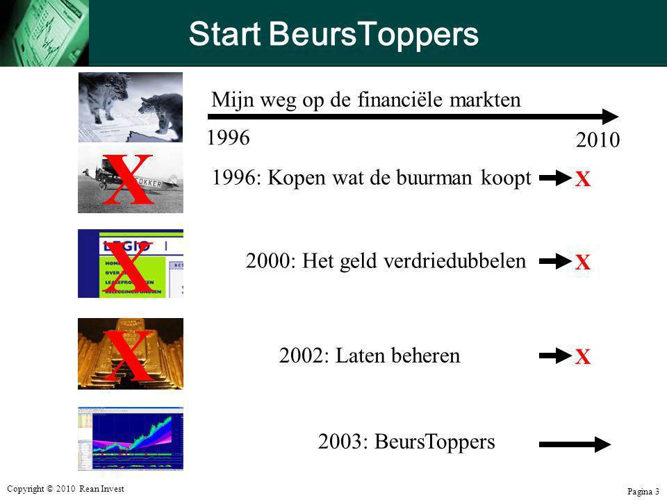 Copyright © 2010 Rean Invest Pagina 3 Start BeursToppers 1996: Kopen wat de buurman koopt2000: Het geld verdriedubbelen 2002: Laten beheren Mijn weg o