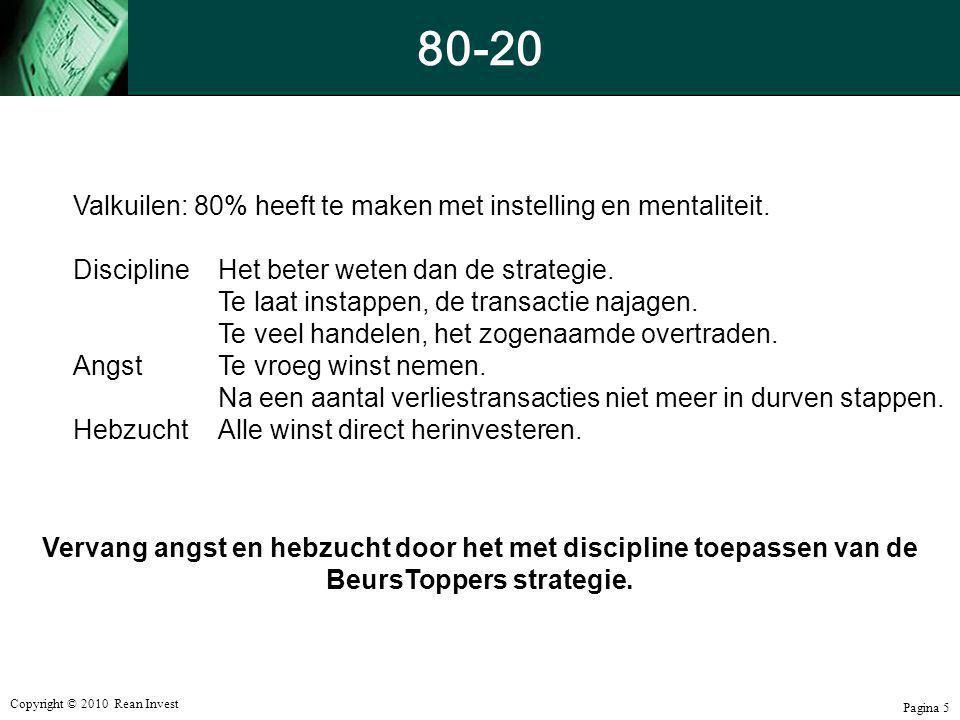 Copyright © 2010 Rean Invest Pagina 5 80-20 Valkuilen: 80% heeft te maken met instelling en mentaliteit. DisciplineHet beter weten dan de strategie. T