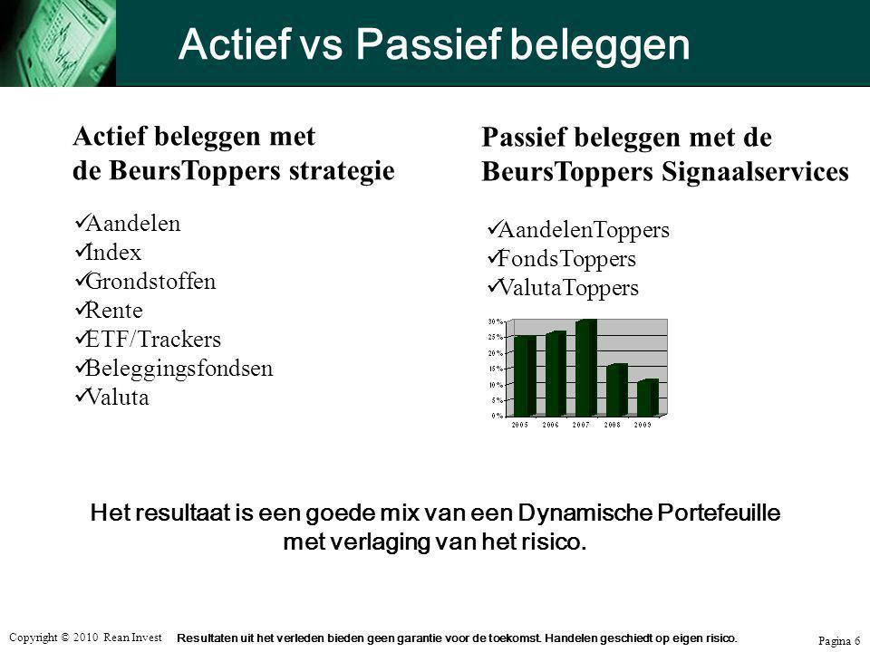 Copyright © 2010 Rean Invest Pagina 6 Actief vs Passief beleggen  Aandelen  Index  Grondstoffen  Rente  ETF/Trackers  Beleggingsfondsen  Valuta