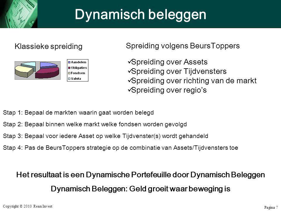 Copyright © 2010 Rean Invest Pagina 7 Dynamisch beleggen Klassieke spreiding Spreiding volgens BeursToppers  Spreiding over Assets  Spreiding over T