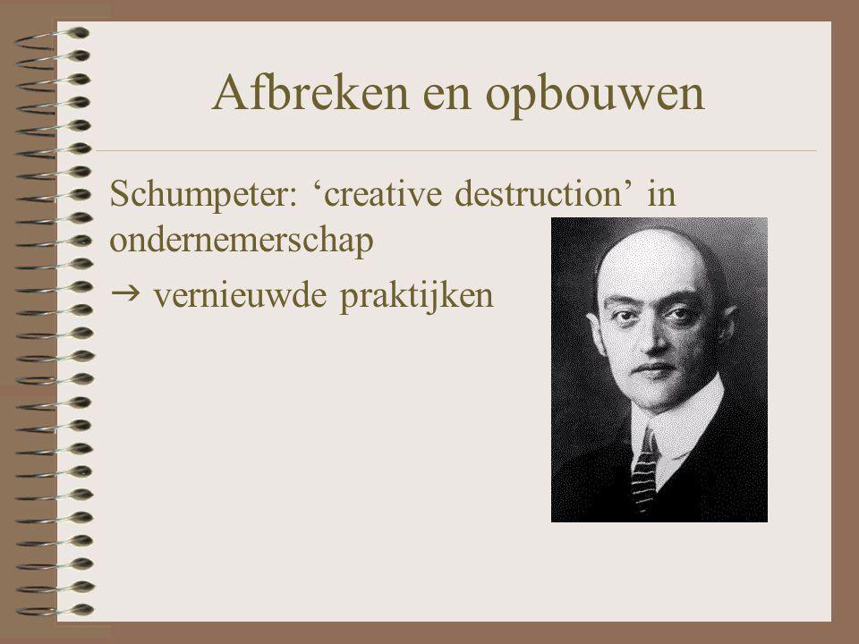 Afbreken en opbouwen Schumpeter: 'creative destruction' in ondernemerschap  vernieuwde praktijken