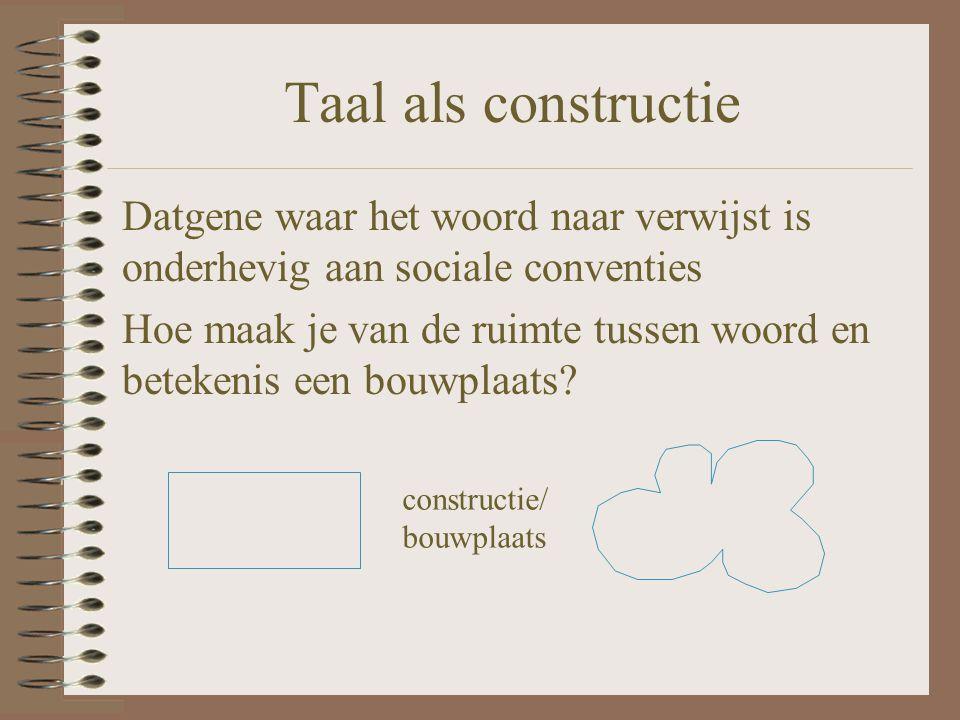 Taal als constructie Datgene waar het woord naar verwijst is onderhevig aan sociale conventies Hoe maak je van de ruimte tussen woord en betekenis een