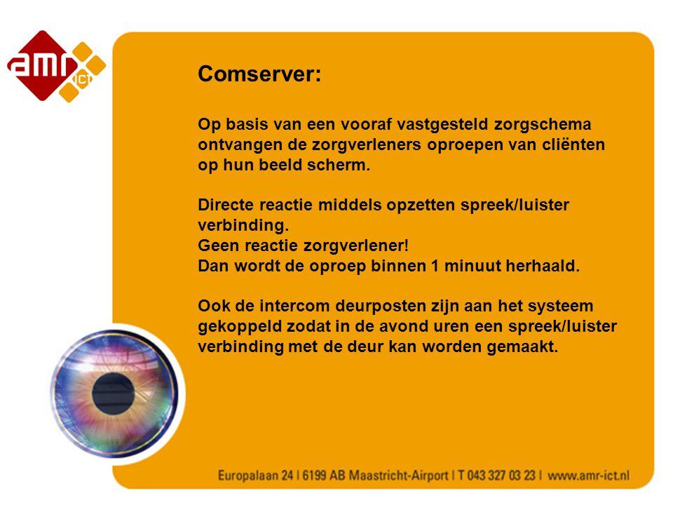 Comserver: Op basis van een vooraf vastgesteld zorgschema ontvangen de zorgverleners oproepen van cliënten op hun beeld scherm.