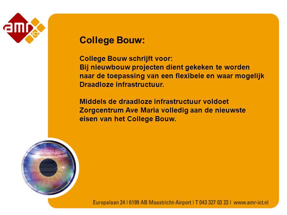 College Bouw: College Bouw schrijft voor: Bij nieuwbouw projecten dient gekeken te worden naar de toepassing van een flexibele en waar mogelijk Draadloze infrastructuur.