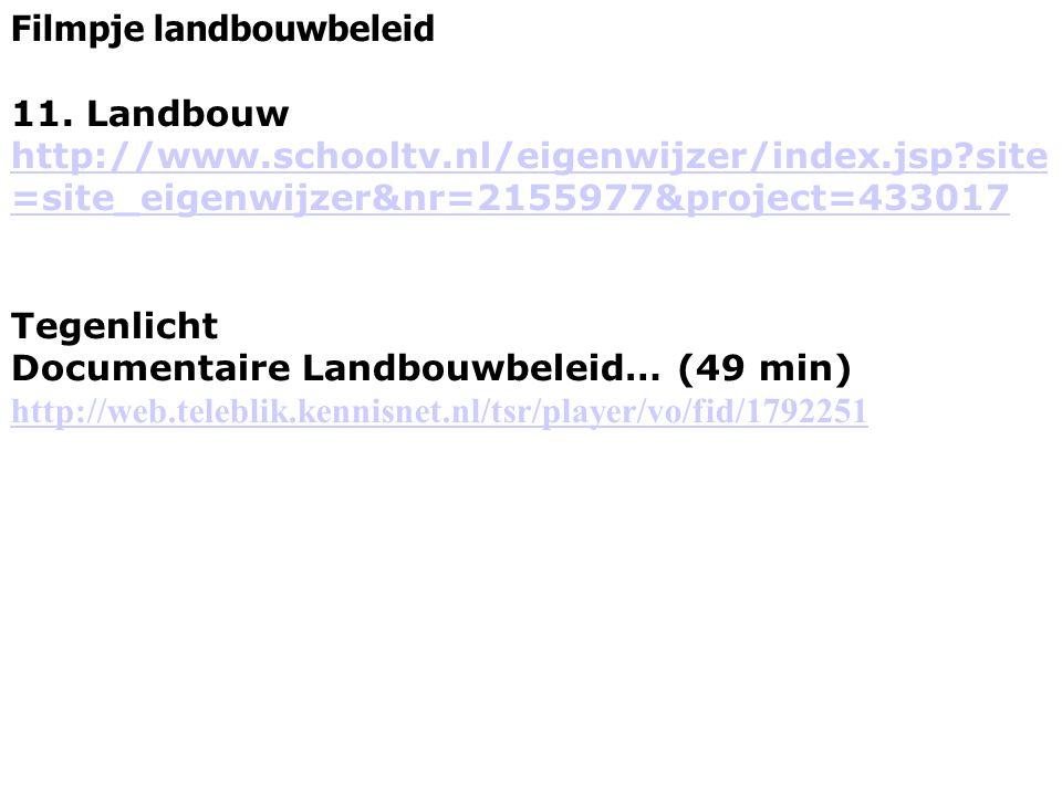 Filmpje landbouwbeleid 11. Landbouw http://www.schooltv.nl/eigenwijzer/index.jsp?site =site_eigenwijzer&nr=2155977&project=433017 Tegenlicht Documenta