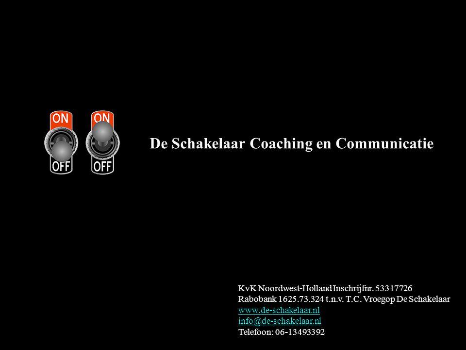 De Schakelaar Coaching en Communicatie KvK Noordwest-Holland Inschrijfnr. 53317726 Rabobank 1625.73.324 t.n.v. T.C. Vroegop De Schakelaar www.de-schak