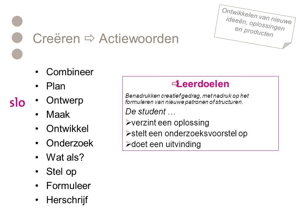 Creëren  Actiewoorden •Combineer •Plan •Ontwerp •Maak •Ontwikkel •Onderzoek •Wat als.