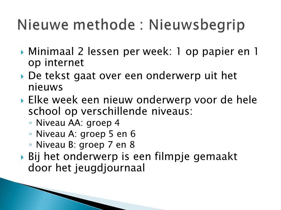  Minimaal 2 lessen per week: 1 op papier en 1 op internet  De tekst gaat over een onderwerp uit het nieuws  Elke week een nieuw onderwerp voor de h