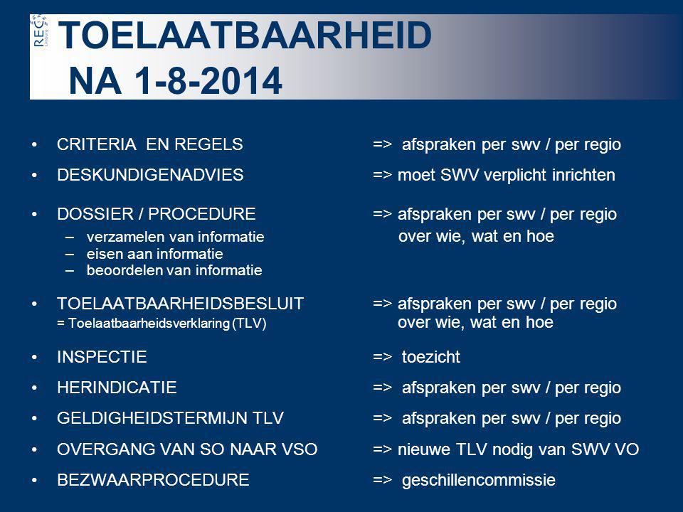 TOELAATBAARHEID NA 1-8-2014 •CRITERIA EN REGELS=> afspraken per swv / per regio •DESKUNDIGENADVIES => moet SWV verplicht inrichten •DOSSIER / PROCEDUR