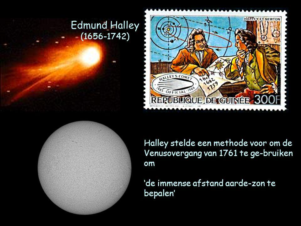 Edmund Halley (1656-1742) Halley stelde een methode voor om de Venusovergang van 1761 te ge-bruiken om 'de immense afstand aarde-zon te bepalen'
