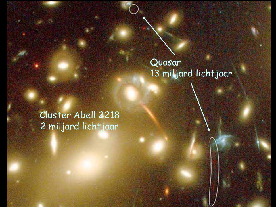 Cluster Abell 2218 2 miljard lichtjaar Quasar 13 miljard lichtjaar