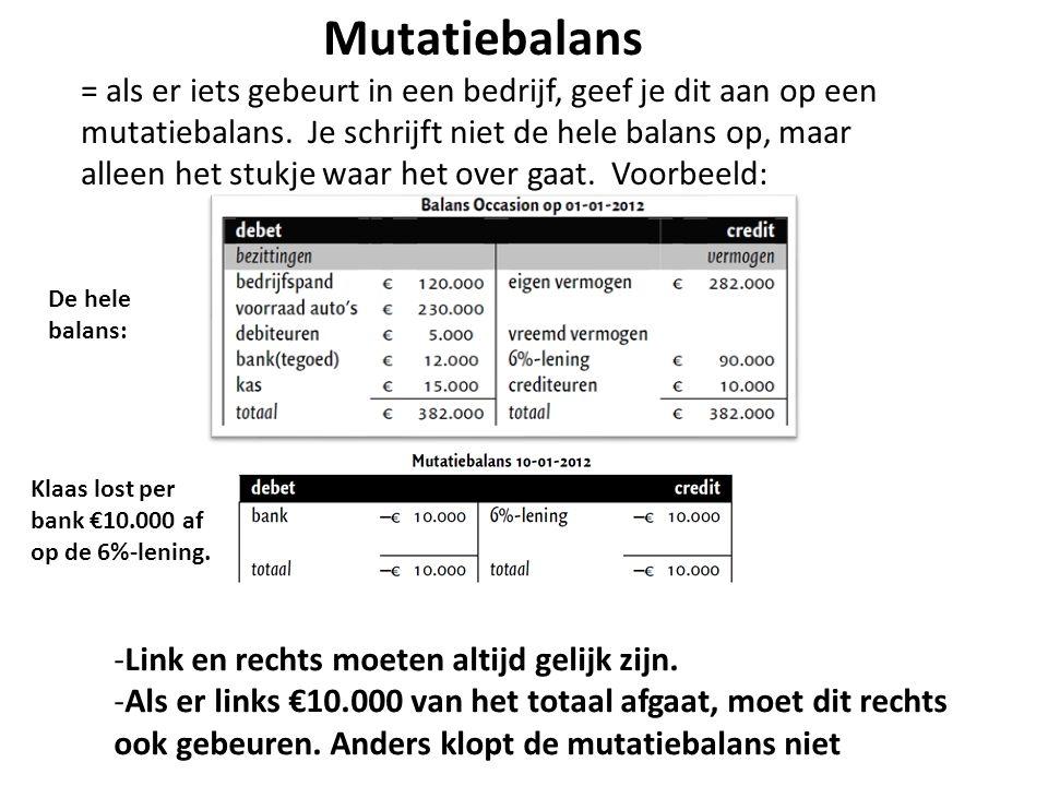 Mutatiebalans = als er iets gebeurt in een bedrijf, geef je dit aan op een mutatiebalans. Je schrijft niet de hele balans op, maar alleen het stukje w