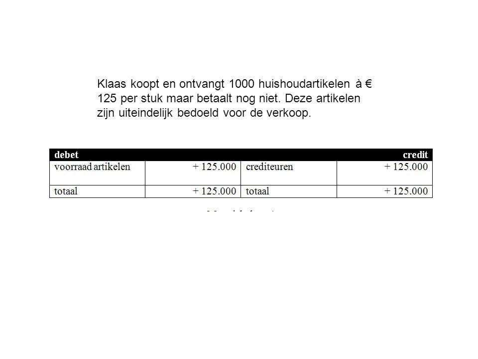 Klaas koopt en ontvangt 1000 huishoudartikelen à € 125 per stuk maar betaalt nog niet. Deze artikelen zijn uiteindelijk bedoeld voor de verkoop.