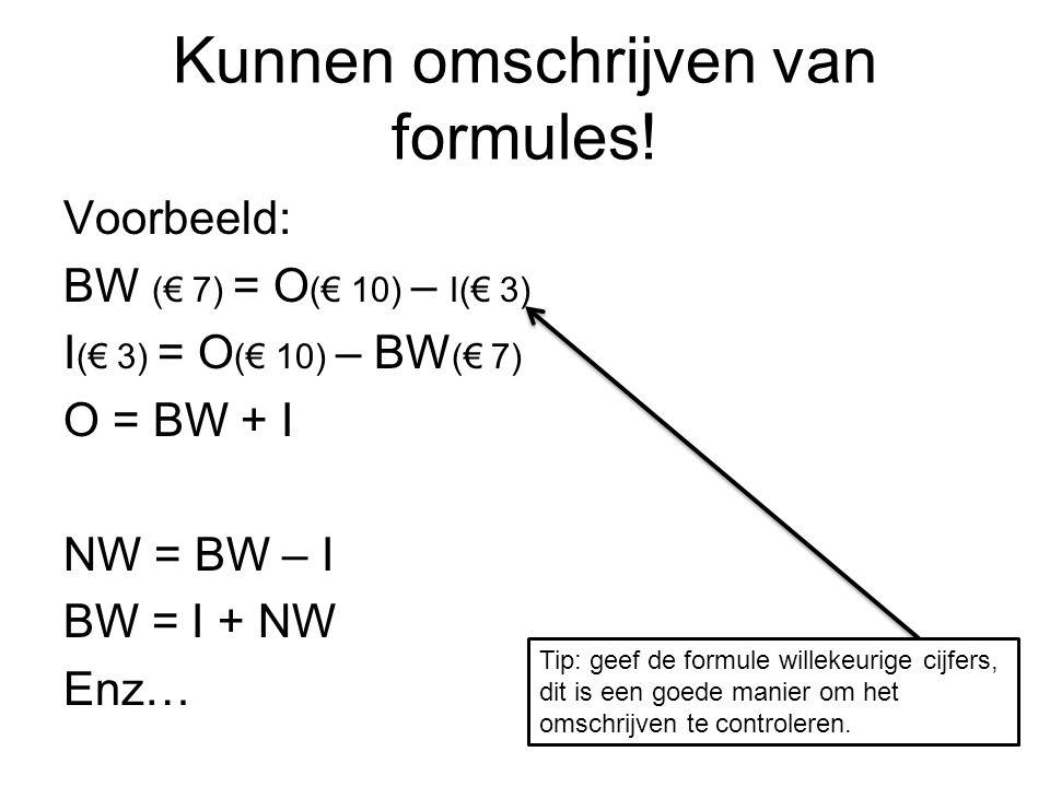 Kunnen omschrijven van formules.