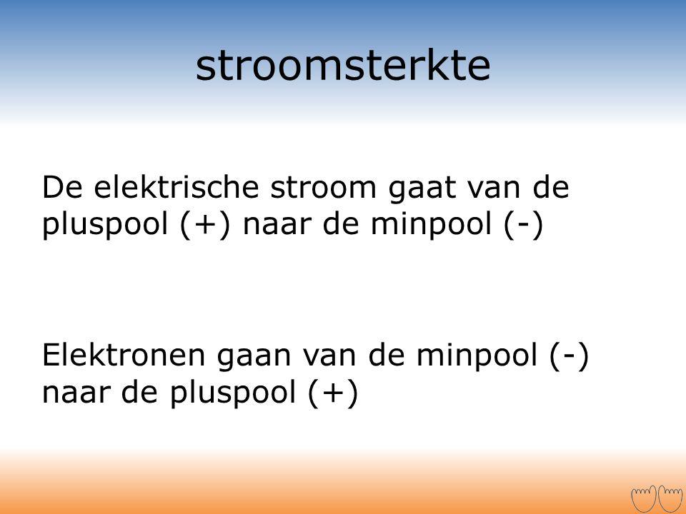 stroomsterkte De elektrische stroom gaat van de pluspool (+) naar de minpool (-) Elektronen gaan van de minpool (-) naar de pluspool (+)