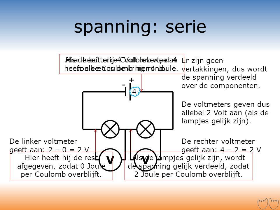 VV spanning: serie + - 024 Er zijn geen vertakkingen, dus wordt de spanning verdeeld over de componenten. Als de lampjes gelijk zijn, wordt de spannin