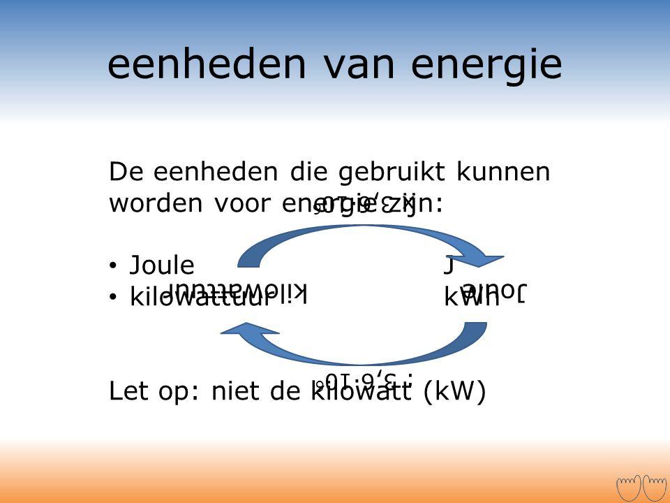 eenheden van energie De eenheden die gebruikt kunnen worden voor energie zijn: • Joule J • kilowattuur kWh Let op: niet de kilowatt (kW) Joulekilowatt