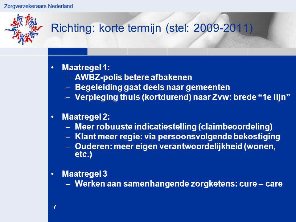 7 juni '14 Richting: korte termijn (stel: 2009-2011) •Maatregel 1: –AWBZ-polis betere afbakenen –Begeleiding gaat deels naar gemeenten –Verpleging thu