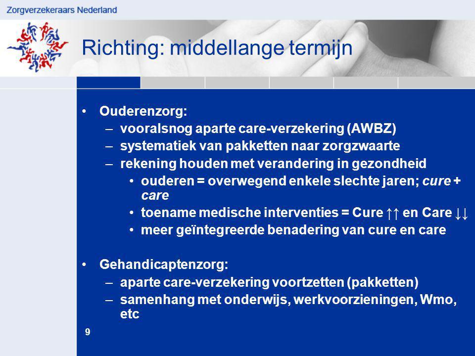 9 juni '14 Richting: middellange termijn •Ouderenzorg: –vooralsnog aparte care-verzekering (AWBZ) –systematiek van pakketten naar zorgzwaarte –rekenin