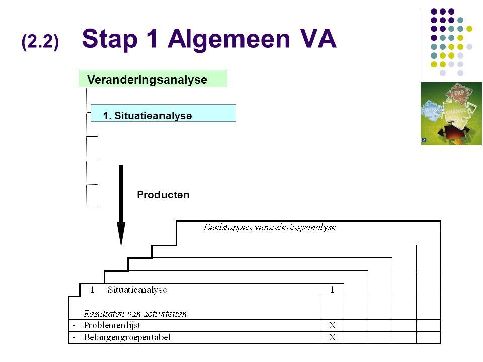 (2.2) Stap 1 Algemeen VA Veranderingsanalyse 1. Situatieanalyse Producten