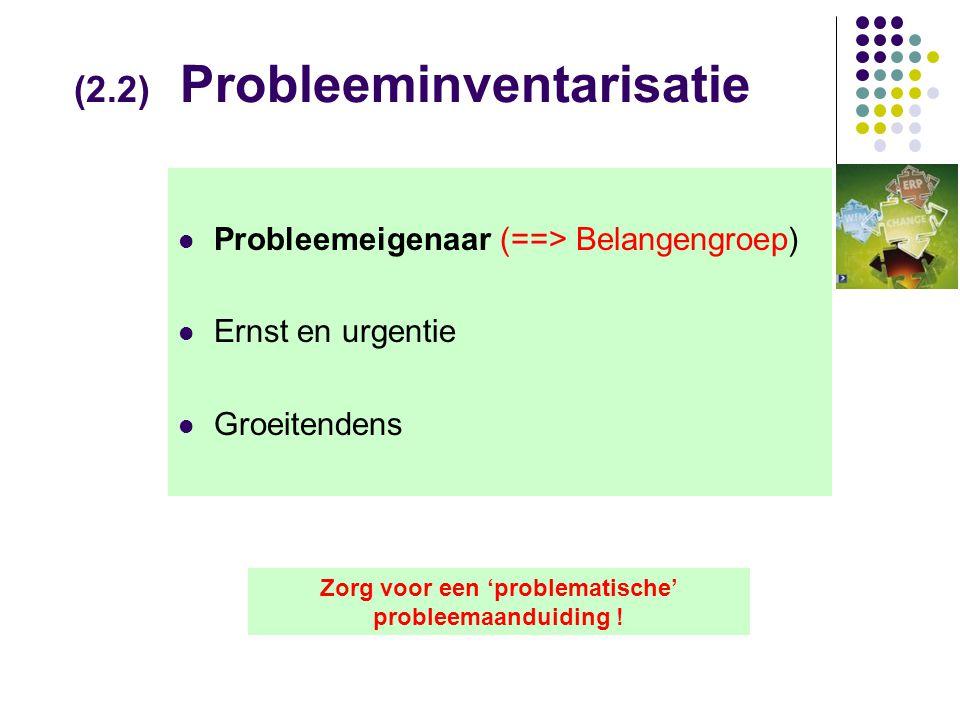(2.2) Probleeminventarisatie  Probleemeigenaar (==> Belangengroep)  Ernst en urgentie  Groeitendens Zorg voor een 'problematische' probleemaanduiding !