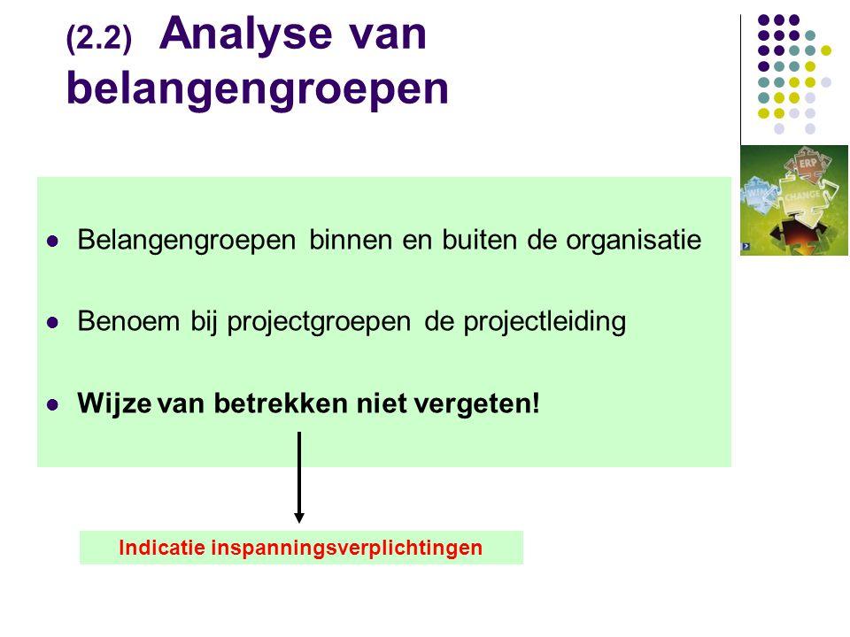 (2.2) Analyse van belangengroepen  Belangengroepen binnen en buiten de organisatie  Benoem bij projectgroepen de projectleiding  Wijze van betrekken niet vergeten.