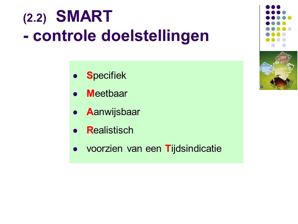 (2.2) SMART - controle doelstellingen  Specifiek  Meetbaar  Aanwijsbaar  Realistisch  voorzien van een Tijdsindicatie