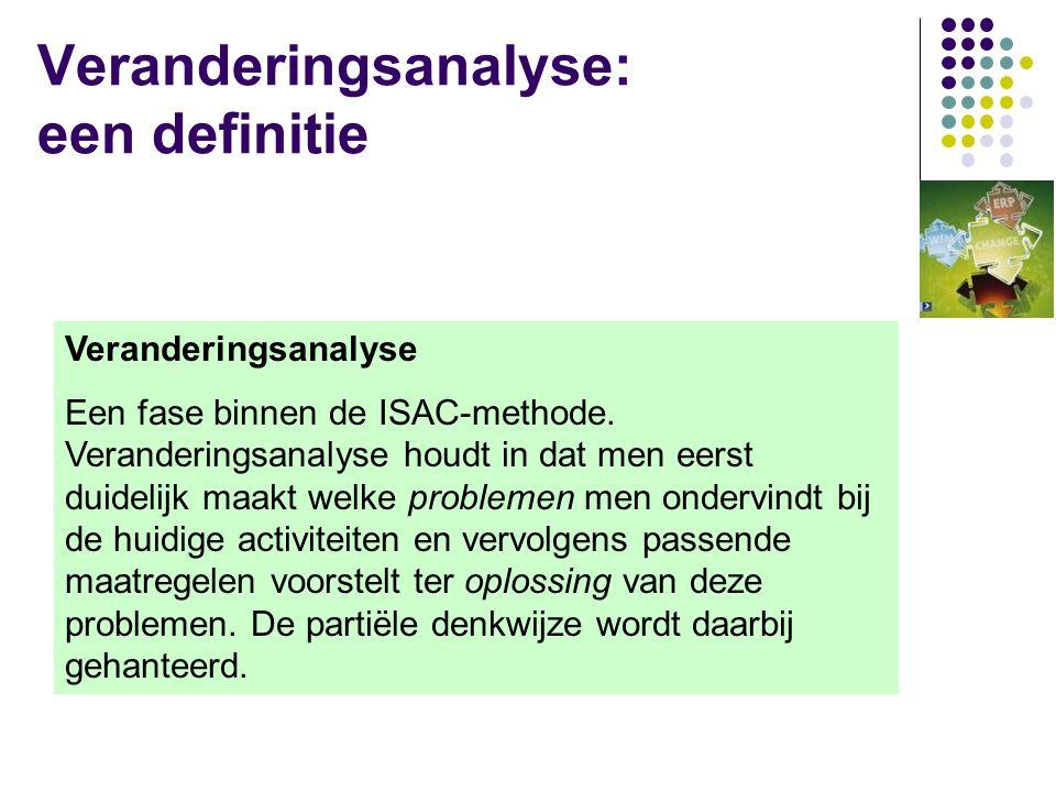 Synoniemen veranderingsanalyse  Veranderingsanalyse  Business Area Analyse  Definitiestudie  Projectvooronderzoek  ISAC  IE  SDM  ?.