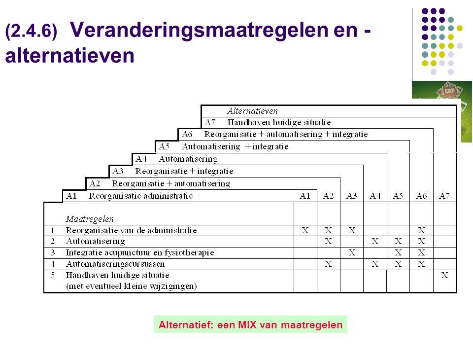 (2.4.6) Veranderingsmaatregelen en - alternatieven Alternatief: een MIX van maatregelen