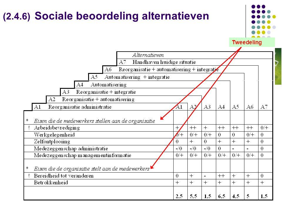 (2.4.6) Sociale beoordeling alternatieven Tweedeling