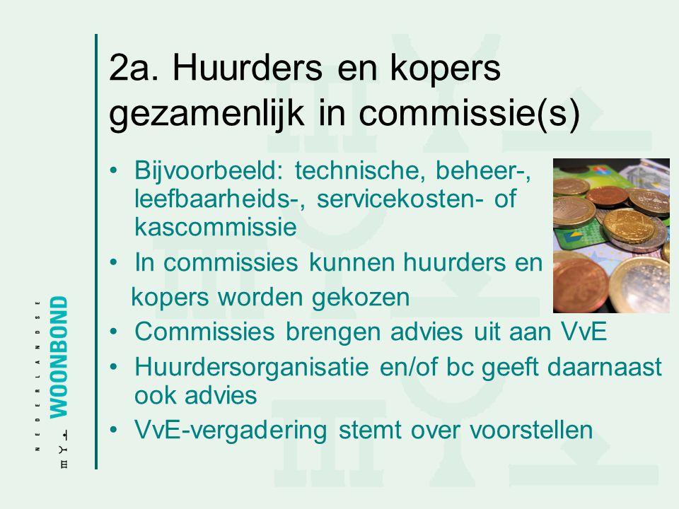 2a. Huurders en kopers gezamenlijk in commissie(s) •Bijvoorbeeld: technische, beheer-, leefbaarheids-, servicekosten- of kascommissie •In commissies k
