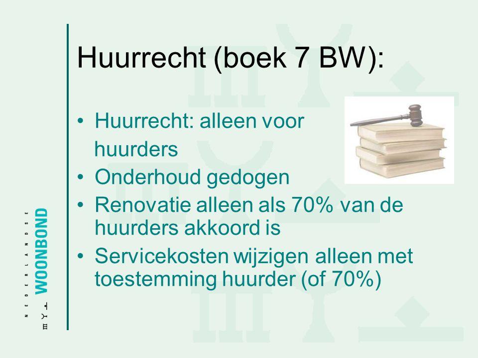 Huurrecht (boek 7 BW): •Huurrecht: alleen voor huurders •Onderhoud gedogen •Renovatie alleen als 70% van de huurders akkoord is •Servicekosten wijzige