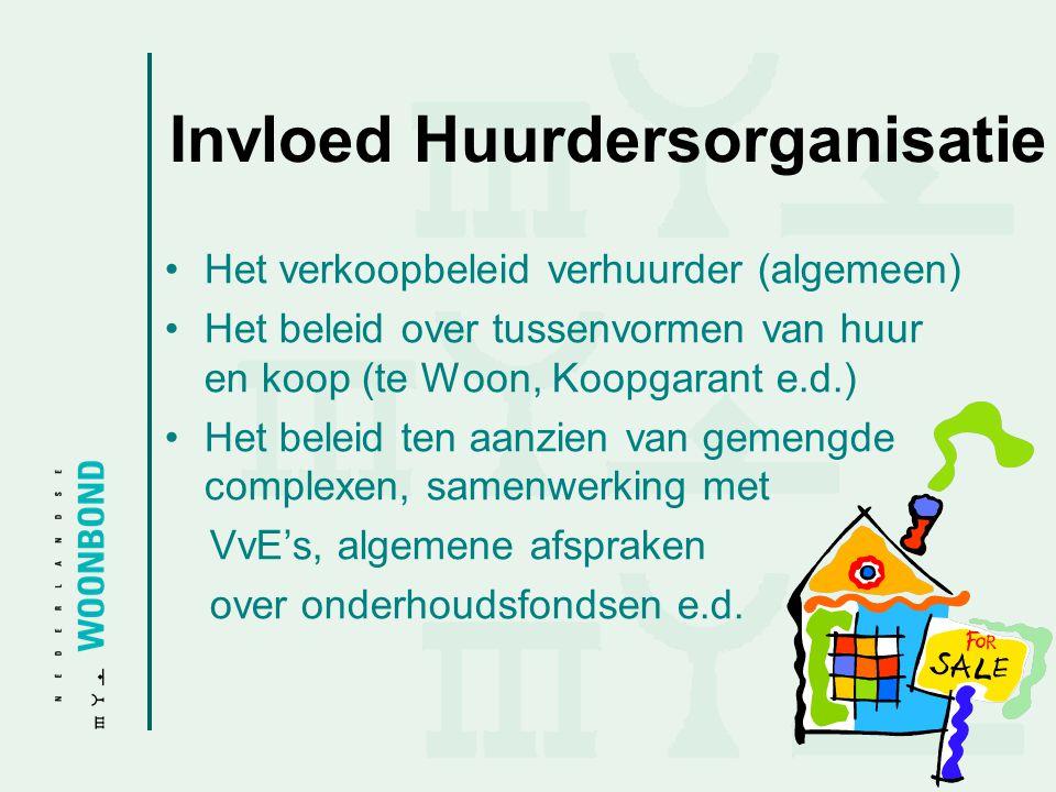Invloed Huurdersorganisatie •Het verkoopbeleid verhuurder (algemeen) •Het beleid over tussenvormen van huur en koop (te Woon, Koopgarant e.d.) •Het be