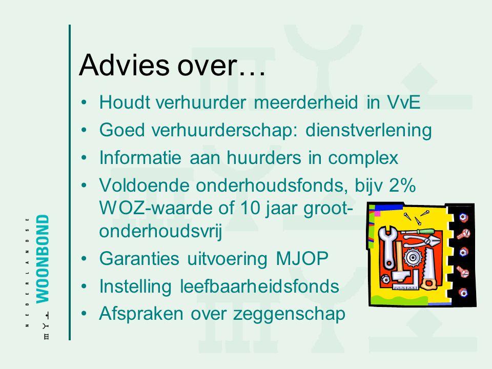 Advies over… •Houdt verhuurder meerderheid in VvE •Goed verhuurderschap: dienstverlening •Informatie aan huurders in complex •Voldoende onderhoudsfond