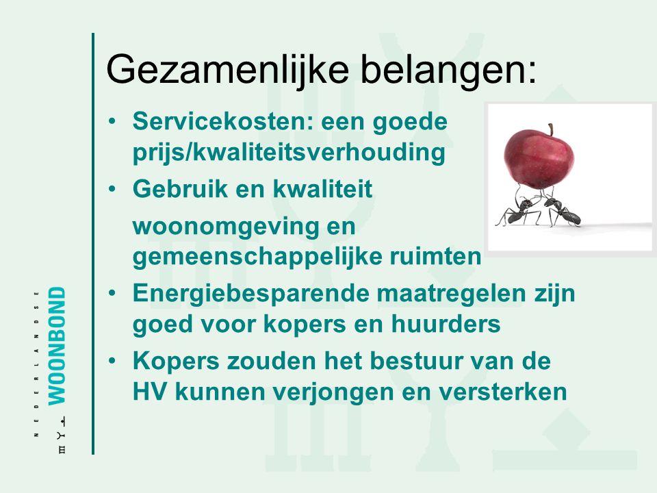 Gezamenlijke belangen: •Servicekosten: een goede prijs/kwaliteitsverhouding •Gebruik en kwaliteit woonomgeving en gemeenschappelijke ruimten •Energieb