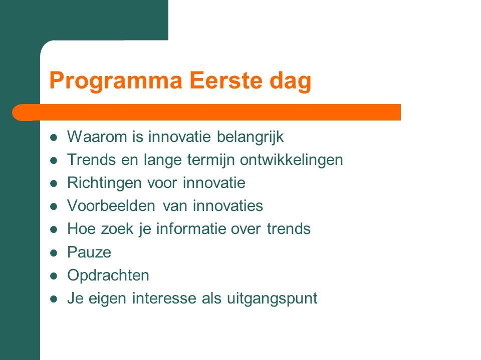 Programma Eerste dag  Waarom is innovatie belangrijk  Trends en lange termijn ontwikkelingen  Richtingen voor innovatie  Voorbeelden van innovatie